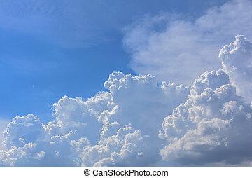 azul, nubes, blanco, cielo