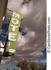 azul, nubes, cielo, motel, neón, se alzar, señal, blanco, ...