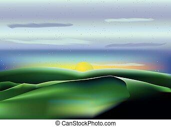 azul, nubes, cielo, sol, colinas, vector, paisaje verde