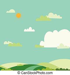 azul, nubes, colinas, field.nature, sol, illustration.green, cielo, fondo verde, summer.vector, paisaje