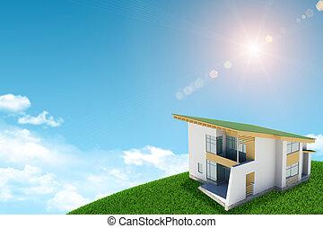 azul, nubes, estantes, sol, colina verde, plano de fondo, cabaña, cielo, brickwork., brillar