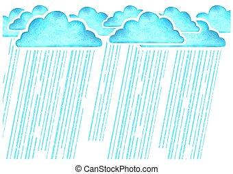 azul, nubes, imagen, lluvia, raining.vector, acuarela, mojado, blanco, día