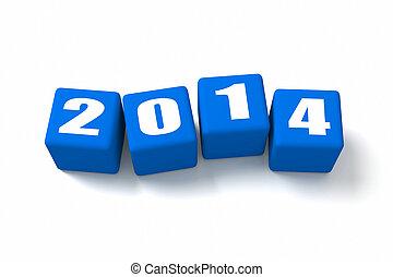 azul, nuevo, cubos, año, 2014