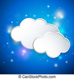 azul, nuvens brancas, fundo