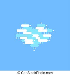 azul, nuvens, céu, ilustração, forma, vetorial, heart., branca