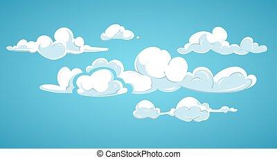 azul, nuvens, céu, ilustração, vetorial, branca