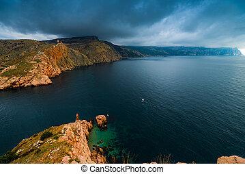 azul, nuvens, chuva, escuro, dramático, mar, paisagem