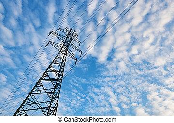 azul, nuvens, electricidade, macio, céu, contra, transmissão, pylon