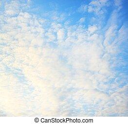 azul, nuvens, macio, céu