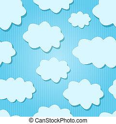azul, nuvens, sky., vetorial, desenho, branca