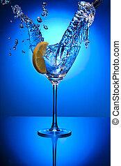 azul, objekt, cristal del agua, limpio, limon