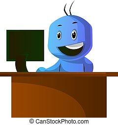 azul, oficina, sentado, caracter, ilustración, vector, plano...