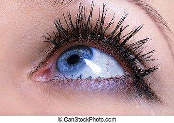 azul, ojo femenino