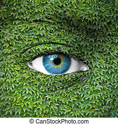azul, ojo humano, y, hiedra, hojas, -, verde, concepto