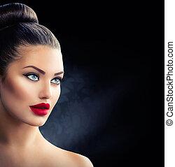 azul, ojos, Moda, labios, retrato,  Sexy, modelo, niña, rojo