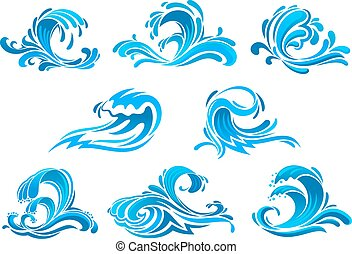 azul, oleaje, iconos, océano, mar, ondas, o