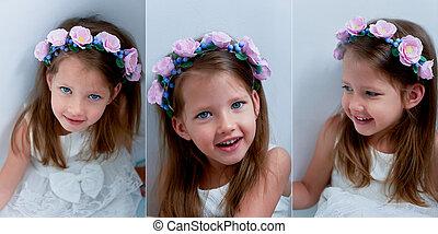 azul, olhar, olhos, ash-blond, seu, cima., câmera, feito à mão, longo, bezel, cabelo, sorrindo, vivamente, segurar passa, menina, charming, beliscado, sorrindo, nariz