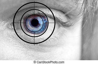 azul, olho homens, alvo