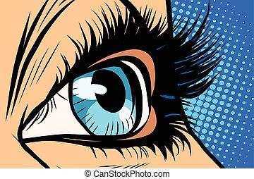 azul, olho mulher, close-up