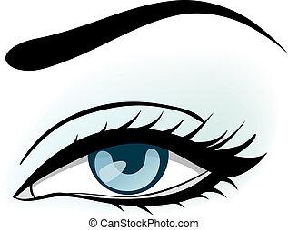 azul, olho mulher, ilustração