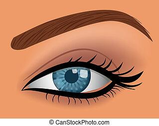 azul, olho mulher, vetorial