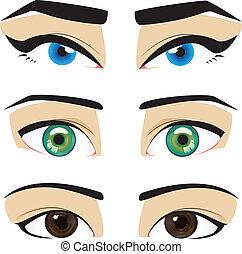 azul, olhos marrons, verde