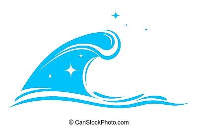 azul, onda grande