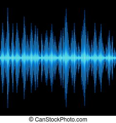 azul, onda sonora, experiência., vetorial, pretas