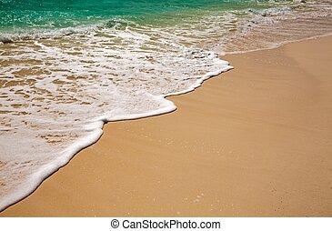 azul, ondas, aguas océano, orilla, indio