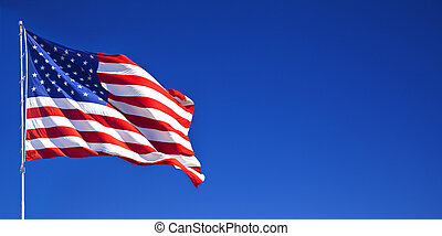 azul, ondulación, cielo, norteamericano, 1, bandera