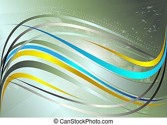 azul, ondulado, brilhante, listras, amarela