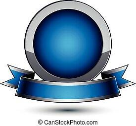 azul, ondular, heráldico, real, aislado, plata, dimensional, fondo., vector, medallón, geométrico, elegante, blanco, redondo, cinta, plantilla