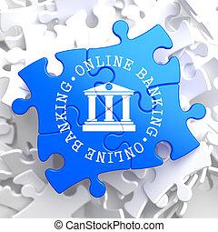 azul, operação bancária, conceito, puzzle., online
