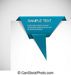 azul, origami, vetorial, papel, fita