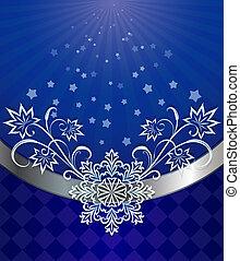 azul, ornament., navidad, fondo oscuro, copo de nieve