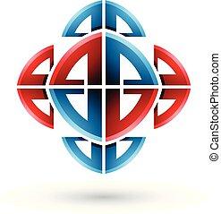 azul, ornamental, abstratos, ilustração, arco, formas, vetorial, vermelho