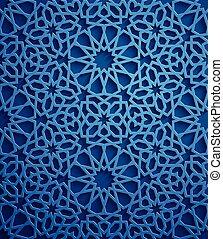 azul, ornamental, motiff, patrón, símbolo, ornamento, ramadan, islámico, vector, persa, plano de fondo, árabe, 3d, elementos, geométrico, circular redonda