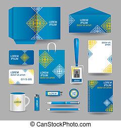 azul, ornamental, negócio, modelo, papelaria