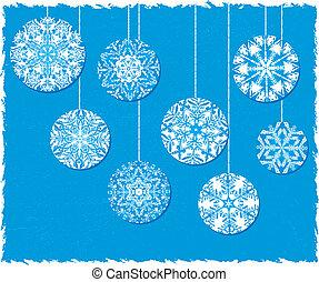 azul, ornamentos, natal, fundo, snowflake