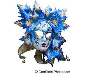 azul, oro, máscara, venitian