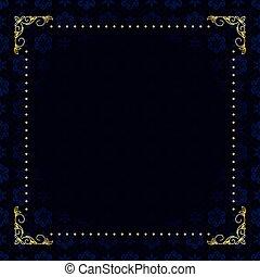 azul, oro, marco, oscuridad, vector, tarjeta