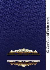azul, oro, marco, papel pintado, florido, encima, brillo