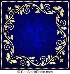 azul, oro, patrón, marco, lujoso, fondo oscuro
