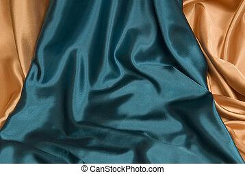 azul, oro, y, real, plano de fondo, raso