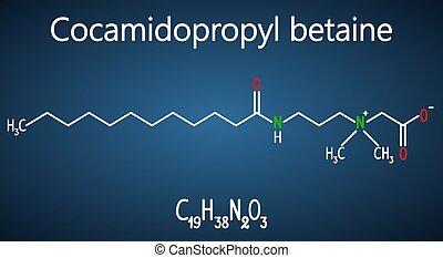 azul, oscuridad, (capb), molecule., molécula, cocamidopropyl, betaine, químico, plano de fondo, fórmula, blanco, modelo, estructural