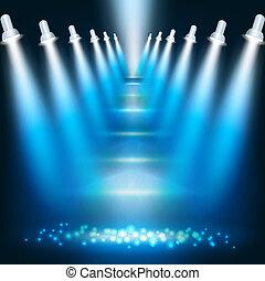 azul, oscuridad, resumen, proyectores, plano de fondo