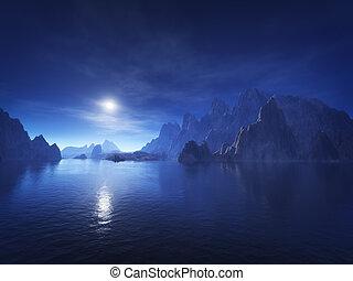 azul oscuro, fantasía, paisaje
