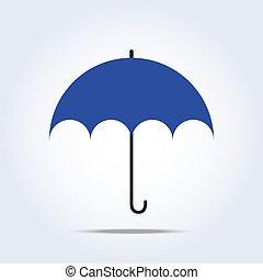 azul oscuro, paraguas, simple, icono
