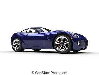 azul oscuro, rápido, elegante, coche