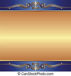 azul, ouro, fundo